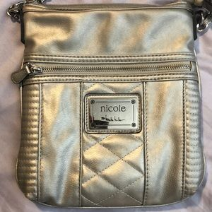 Nicole Miller silver crossbody bag